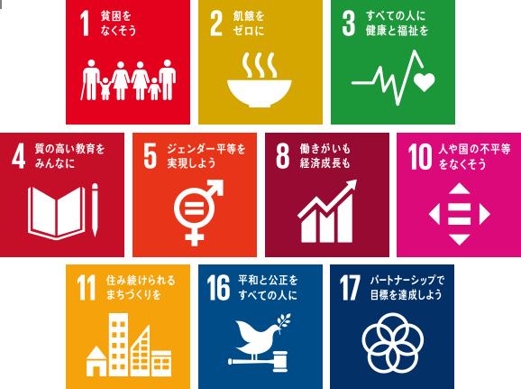 1.貧困をなくそう 2.飢餓をゼロに 3.すべての人に健康と福祉を 4.質の高い教育をみんなに 5.ジェンダー平等を実現しよう 8.働きがいも経済成長も 10.人や国の不平等をなくそう 11.住み続けられるまちづくりを 16.平和と公正をすべての人に 17.パートナーシップで目標を達成しよう
